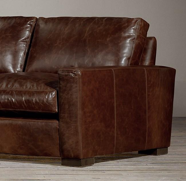 7 Maxwell Leather Three Seat Cushion Sofa