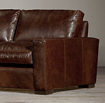7' Maxwell Leather Three-Seat-Cushion Sofa