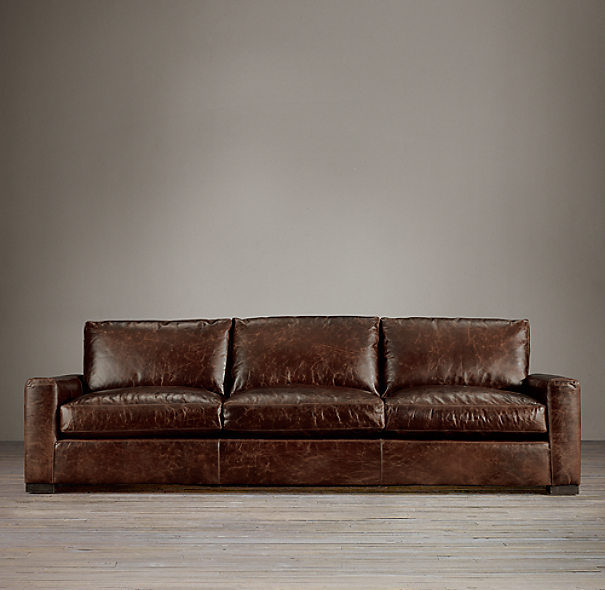 Leather Sectional Sofa Restoration Hardware: Maxwell Leather Three-Seat-Cushion Sofa