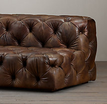 9' Soho Tufted Leather Armless Sofa