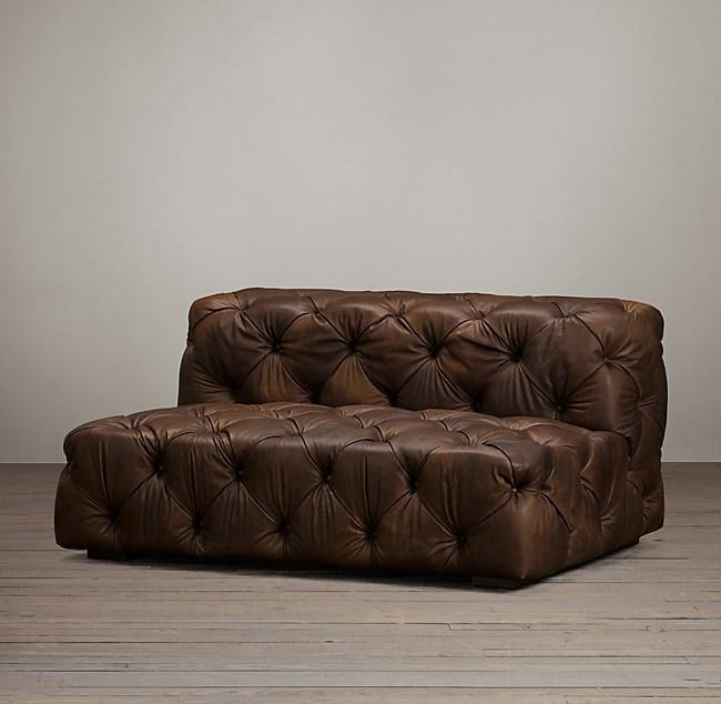 5 Soho Tufted Leather Armless Sofa