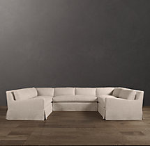 Preconfigured Belgian Slope Arm Slipcovered U-Sofa Sectional