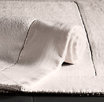Linen-Bordered 650-Gram Turkish Bath Mat - Mist