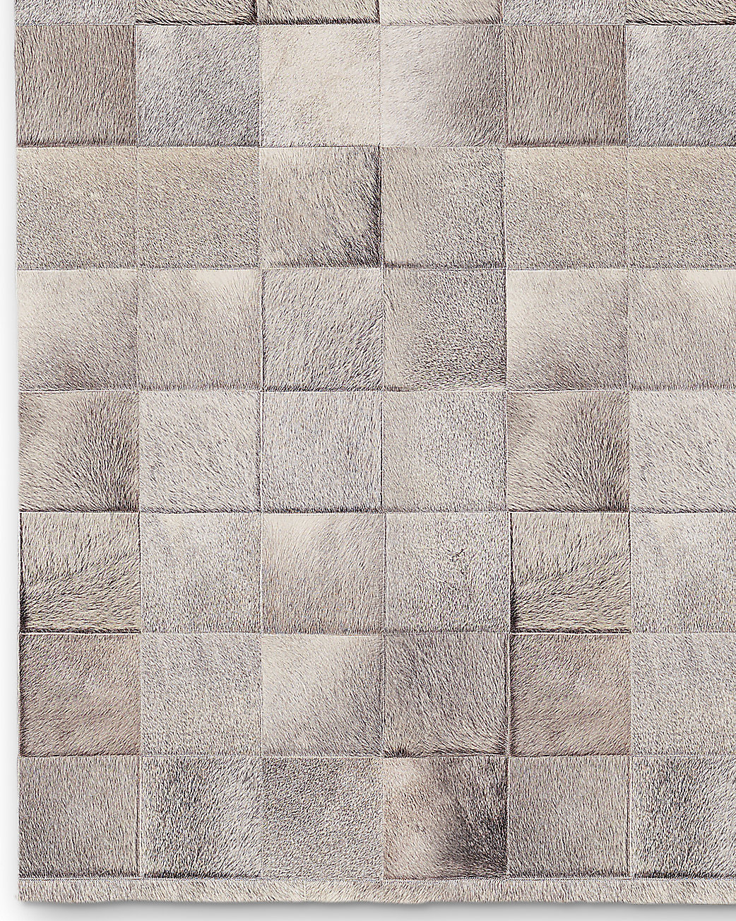 South American Cowhide Tile Rug - Grey
