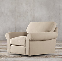 Grand-Scale Roll Arm Upholstered Swivel Chair