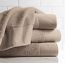 Linen-Bordered 650-Gram Turkish Bath Sheet - Dune