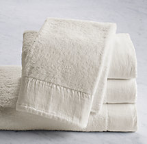 Linen-Bordered 650-Gram Turkish Hand Towel - Ivory