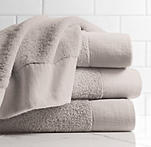 Linen-Bordered 650-Gram Turkish Bath Sheet - Mist