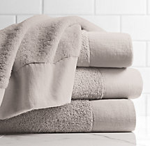Linen-Bordered 650-Gram Turkish Bath Towel - Mist