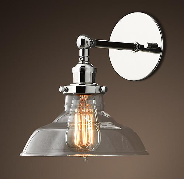 20th C Factory Filament Clear Glass Barn Sconce