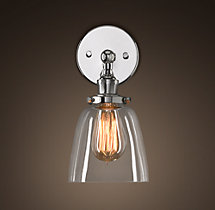 20th C. Factory Filament Clear Glass Cloche Sconce