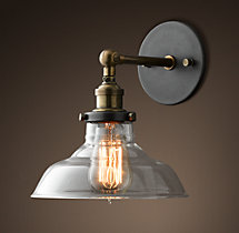 20th C. Factory Filament Clear Glass Barn Sconce