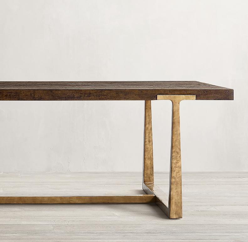 T Brace Rectangular Extension Dining Table