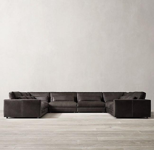 Lugano Modular Leather U-Sofa Sectional