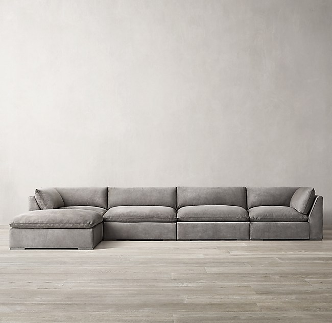 Costera Taper Arm Modular Leather Sofa Chaise Sectional