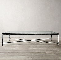 Thaddeus Forged Pewter Amp Glass Rectangular Coffee Table