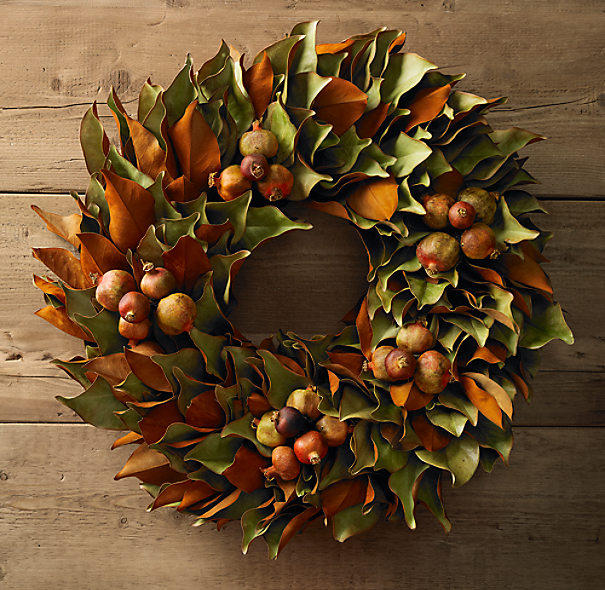 Preserved Magnolia Amp Pomegranate Wreath