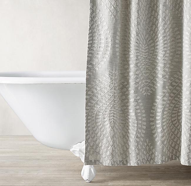 Palmette Embroidered Linen Shower Curtain