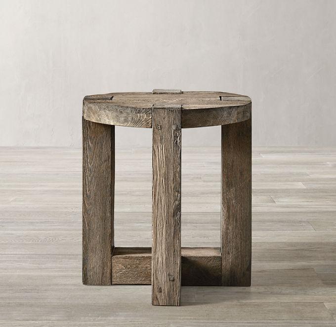 Reclaimed Rustic Oak Round Side Table