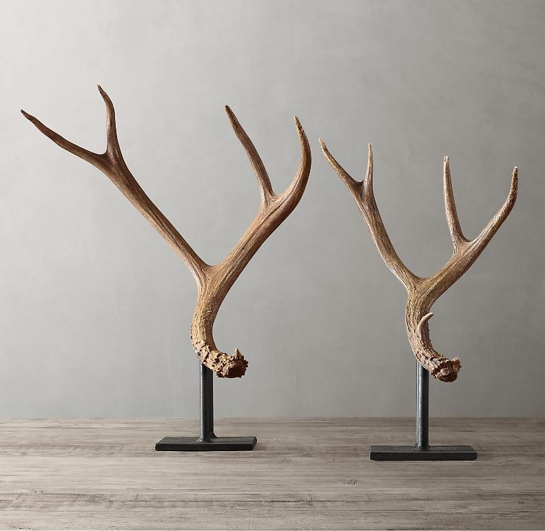 Natural Deer Antler On Stand