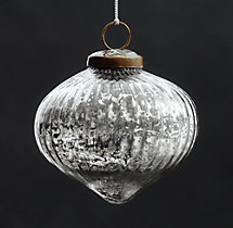 Vintage Handblown Glass Ornament Ribbed Onion - Silver