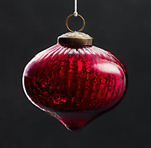 Vintage Handblown Glass Ornament Ribbed Onion - Red