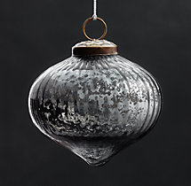 Vintage Handblown Glass Ornament Ribbed Onion - Smoke