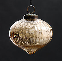 Vintage Handblown Glass Ornament Ribbed Onion - Gold