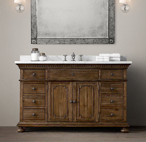 shown in antiqued coffee with italian carrara marble countertop