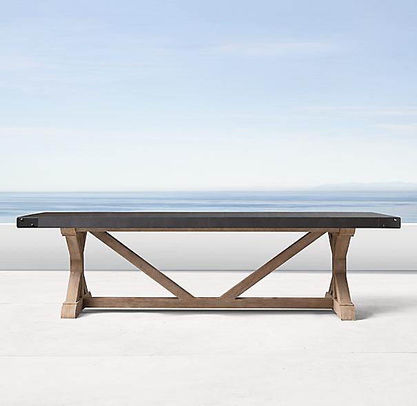 Belgian Trestle Concrete Amp Teak Rectangular Dining Table