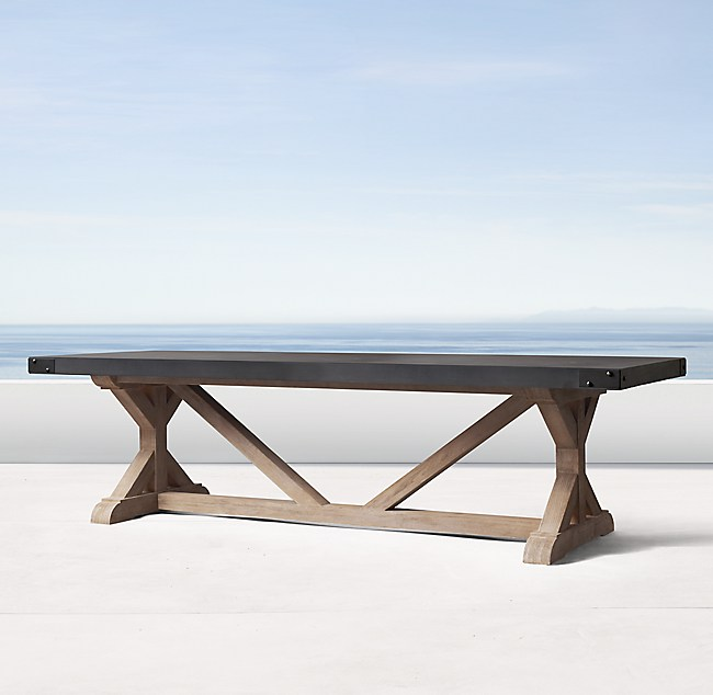 Belgian Trestle Concrete & Teak Rectangular Dining Table