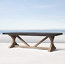 Belgian Trestle Concrete & Teak Rectangular Dining Table