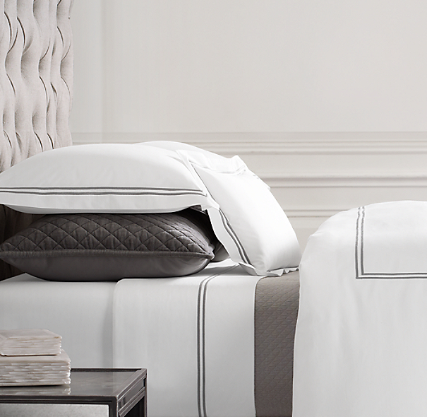 italian hotel satin stitch white bedding collection