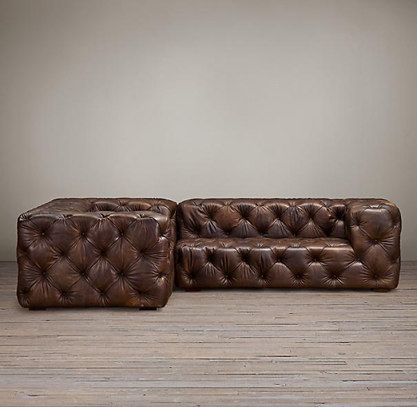 Preconfigured Soho Tufted Leather Corner Sectional