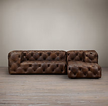 Soho Tufted Leather Right-Arm Chaise Sectional
