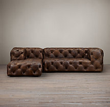 Soho Tufted Leather Left-Arm Chaise Sectional