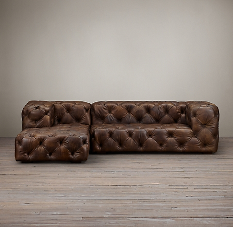 Preconfigured Soho Tufted Leather Left Arm Sofa Chaise Sectional