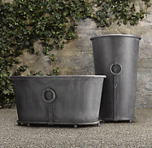 Estate Zinc Ring Round Tall & Trough Planters