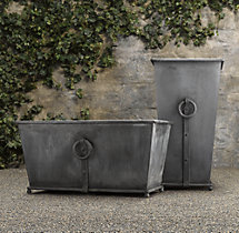 Estate Zinc Ring Square Tall & Trough Planters