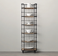Circa 1900 Caged Baker S Rack Narrow Single Shelving