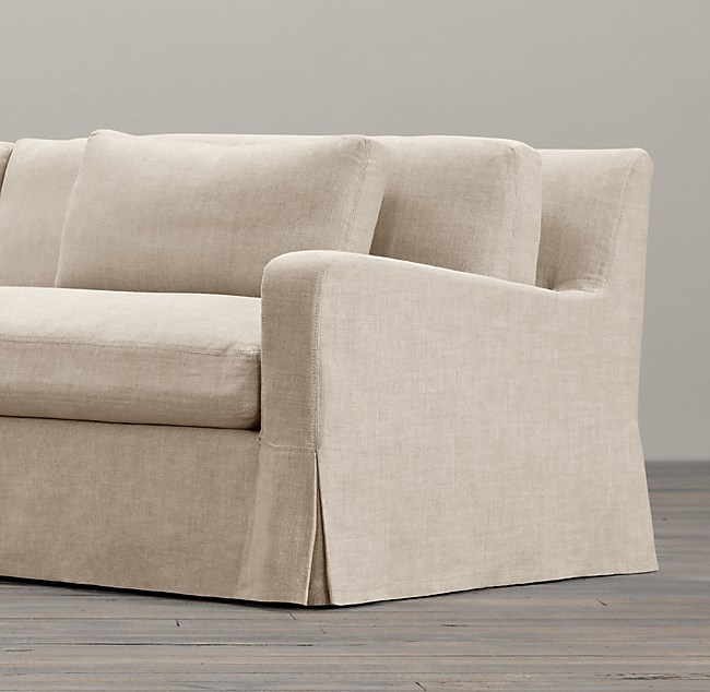 9 Belgian Slope Arm Slipcovered Two Seat Cushion Sofa