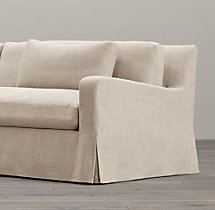 8' Belgian Slope Arm Slipcovered Two-Seat-Cushion Sofa