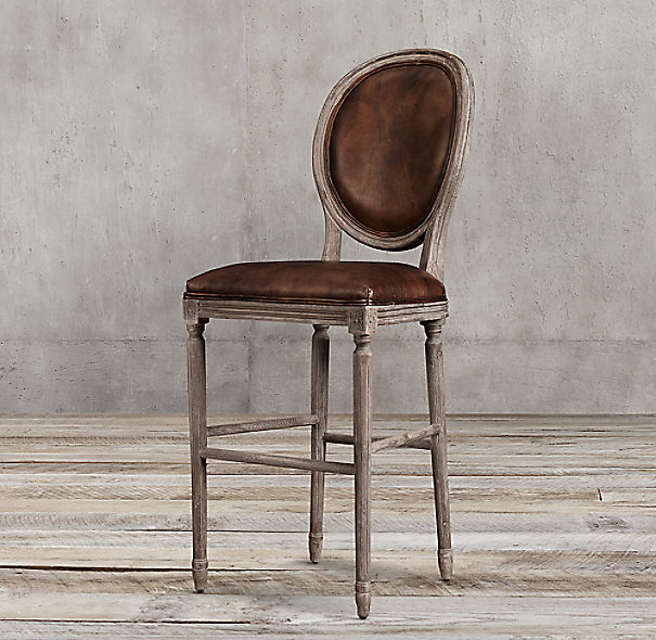 Vintage French Round Leather Stool