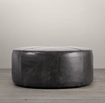 "36"" Cooper Leather Round Ottoman"