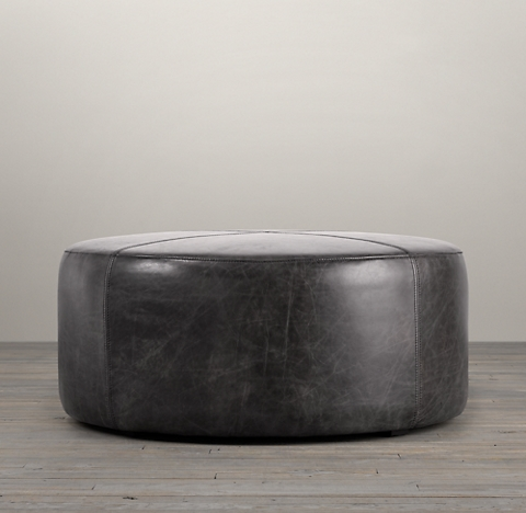 36 Cooper Leather Round Ottoman
