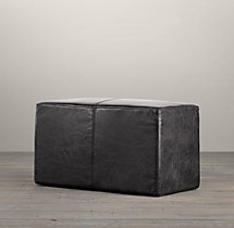 "30"" Cooper Leather Rectangular Ottoman"