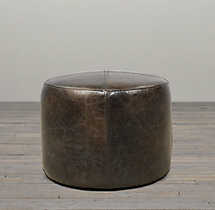 "20"" Cooper Leather Round Ottoman"