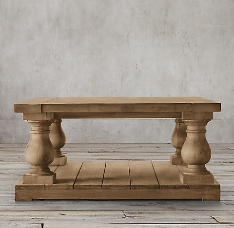 Restoration Hardware Coffee Table.Balustrade Salvaged Wood Collection Salvaged Natural Rh