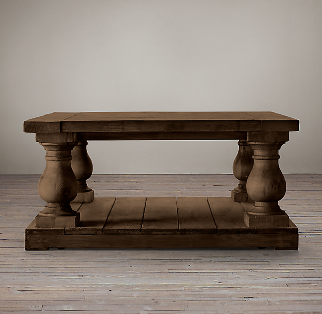 - Balustrade Salvaged Wood Square Coffee Table