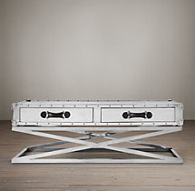 Trans-Atlantic Steamer Trunk X-Base Coffee Table